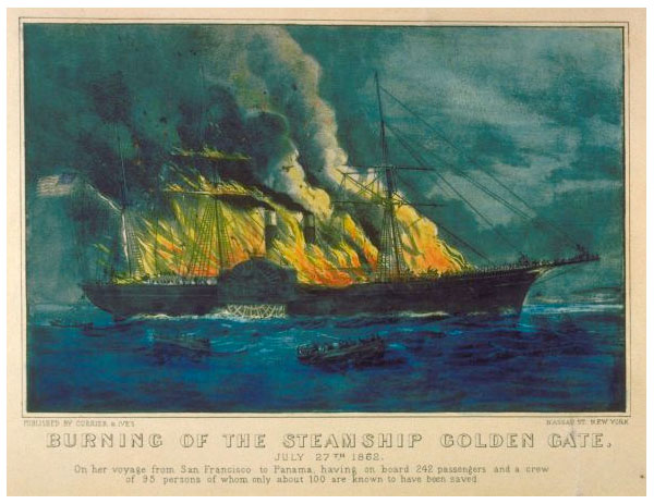 Currier & Ives rendering of the Burning of the Steamship Golden Gate